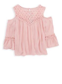 Girls 7-16 Crochet Trim Cold Shoulder Top - 1606051060005