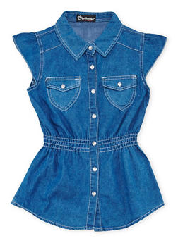 Girls 7-16 Denim Tunic Top with Crystal Buttons - 1606054730002
