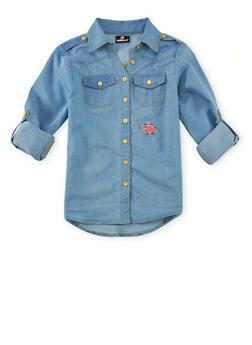 Girls 7-16 Denim Shirt with Button Front and Patch - 1606054730003