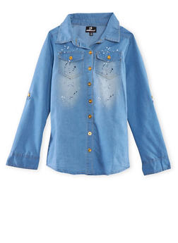 Girls 7-16 Denim Shirt with Paint Splatter Print - 1606054730004