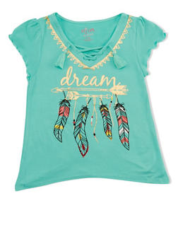 Girls 7-16 Dream Graphic Lace Up Top - 1606054730007