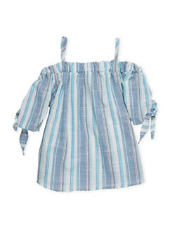 Girls 7-16 Striped Cold Shoulder Top - 1606061950007