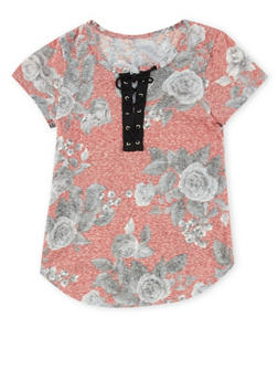 Girls 7-16 Lace Up Floral Print Top - 1606061950008
