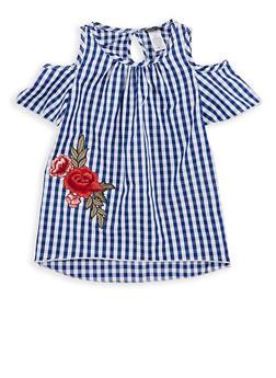 Girls 7-16 Gingham Cold Shoulder Top with Floral Applique - 1606061950010