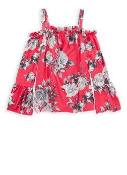 Girls 7-16 Soft Knit Floral Off the Shoulder Top - 1606061950017