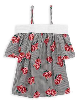 Girls 7-16 Striped Floral Off the Shoulder Top - 1606061950018