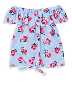 Girls 7-16 Floral Striped Off the Shoulder Tie Front Top - 1606061950023