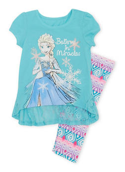 Girls 4-6x Short Sleeve Graphic Frozen Lace Top and Printed Legging Set - 1607009290026