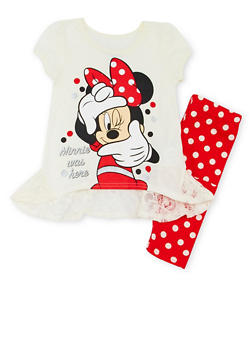 Girls 4-5 Cap Sleeve Top and Leggings with Polka Dot Minnie was Here Print - 1607009290027