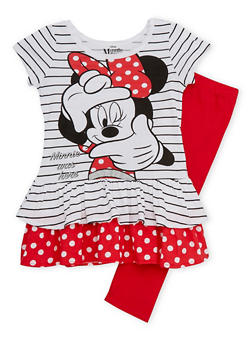 Girls 4-6x Striped Top and Leggings with Minnie was Here Print - 1607009290033