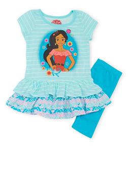 Girls 4-6x Elena of Avalor Peplum Top with Leggings - 1607009290034