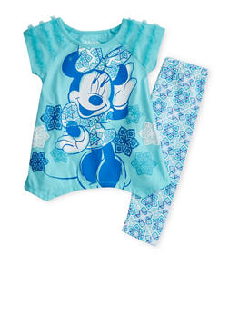 Girls 4-6x Minnie Mouse Ruffle Graphic Top with Printed Leggings - 1607009290036