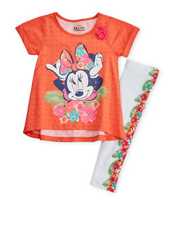 Girls 4-6x Graphic Minnie Mouse T Shirt with Floral Leggings Set - 1607009290039