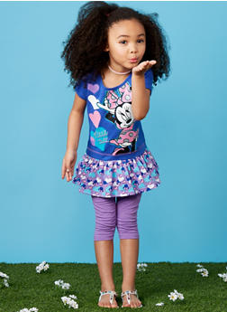 Girls 4-6x Graphic Minnie Mouse T Shirt and Purple Leggings Set - 1607009290042
