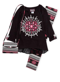 Girls 4-6x Graphic Sweater with Leggings and Bag - 1607021280001