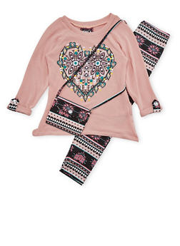 Girls 4-6x Graphic Sweater with Leggings and Bag - 1607021280002