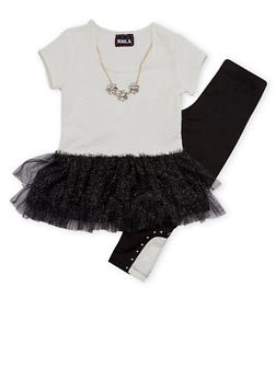 Girls 4-6x Tutu Top with Leggings and Necklace Set - 1607021280003