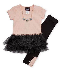 Girls 4-6x Tutu Top with Leggings and Necklace Set - 1607021280004