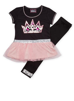 Girls 4-6x Sequined Top and Leggings Set - 1607021280005