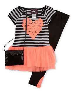 Girls 4-6x Tunic Top with Lace Heart and Paneled Leggings with Bag - 1607021280007
