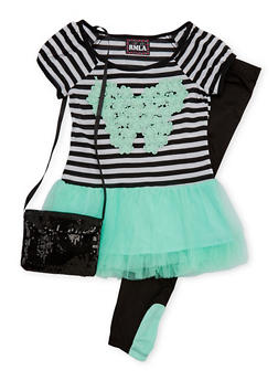 Girls 4-6x Striped Tutu Top with Leggings and Purse - 1607021280008