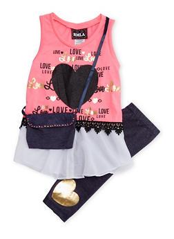 Girls 4-6x Graphic Foil Top with Leggings and Denim Crossbody Bag - 1607021280010