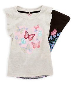 Girls 4-6x Butterfly Print Top and Leggings with Necklace - 1607023130002