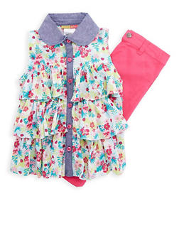 Girls 4-6x Printed Tiered Top with Twill Pants - 1607023260004