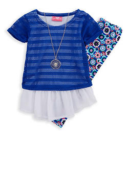 Girls 4-6x Layered Crochet Top and Printed Leggings - 1607048370007