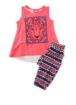 Girls 4-6x Sleeveless Neon Tiger Flyaway Back Top with Multicolored Chevron Leggings Set - 1607048370012