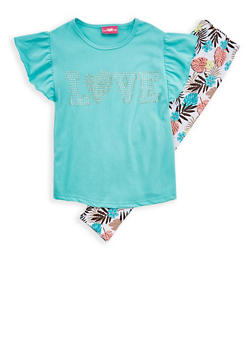 Girls 4-6x Love Graphic Top and Printed Leggings - 1607048370025