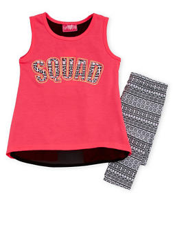 Girls 4-6x Squad Graphic Top with Printed Leggings Set - 1607048375834