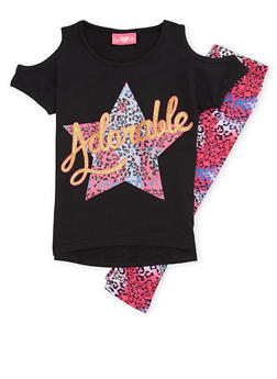 Girls 4-6x Graphic Top with Printed Leggings Set - 1607048375839