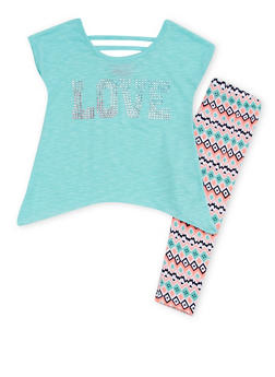 Girls 4-6x Asymmetrical Top with Sequins and Printed Leggings - 1607048375842