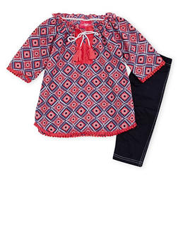 Girls 4-6x Printed Peasant Top and Leggings Set - 1607048375843