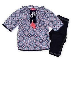 Girls 4-6x Printed Peasant Top and Leggings Set - 1607048375843