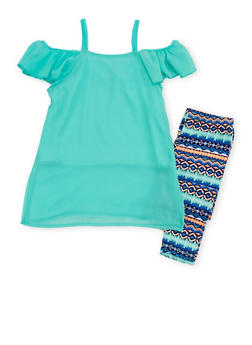 Girls 4-6x Off the Shoulder Top with Printed Leggings - 1607048375844