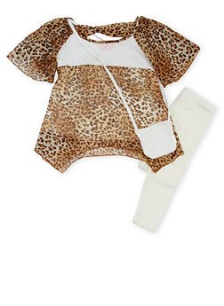 Girls 4-6x Leopard Print Top with Leggings and Purse - 1607048375861