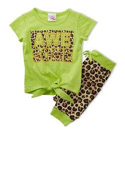Girls 4-6x Tie Front Tee with Awesome Graphic and Leopard Print Leggings Set - LIME - 1607054730003