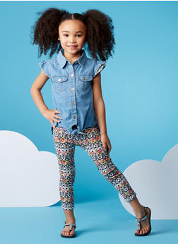 Girls 4-6x Denim Top with Printed Leggings Set - 1607054730004