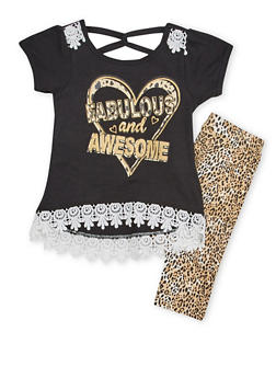 Girls 4-6x Graphic T Shirt Top with Leggings Set - 1607054730005