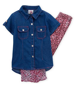 Girls 4-6x Denim Leopard Print Shirt with Leggings - 1607054730012