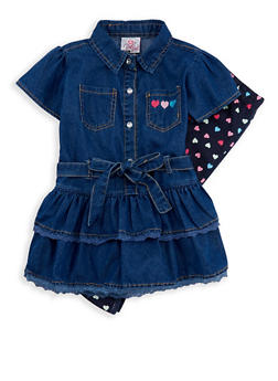Girls 4-6x Ruffled Denim Top with Heart Print Leggings - 1607054730013