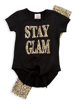 Girls 4-6x Stay Glam Leopard Print Top with Leggings - 1607054730015