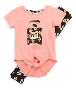 Girls 4-6x Perfume Graphic Top with Leggings - 1607054730016