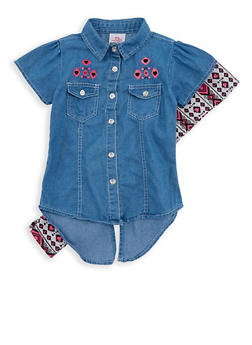 Girls 4-6x Denim Button Front Shirt with Printed Leggings - 1607054730019