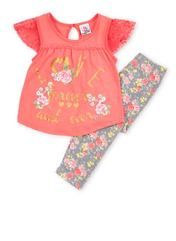 Girls 4-6x Love Graphic Top with Floral Leggings Set - 1607054730021