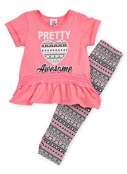 Girls 4-6x Graphic Peplum Top with Printed Leggings Set - 1607054730024