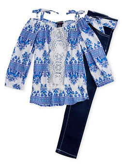 Girls 4-6x Cold Shoulder Crochet Detail Printed Top with Matching Sash Belted Pants - 1607060990020