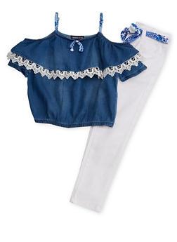 Girls 4-6x Cold Shoulder Crochet Trim Top with Floral Sash Belted Pants - 1607060990023
